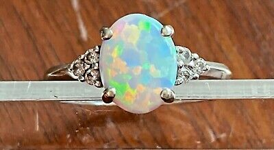 £181.51 • Buy 10k White Gold 2ct Fire Opal Solitaire W Diamond Accents Ring - Signed QCD Sz 5