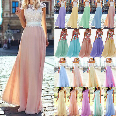 £16.19 • Buy Women Lace Bridesmaid Wedding Prom Ball Gown Evening Long Maxi Dresses Plus Size