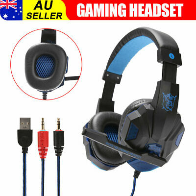 AU23.95 • Buy Wired Gaming Headset Headphones With Mic Earphones For Mac PS4 Xbox PC Laptop
