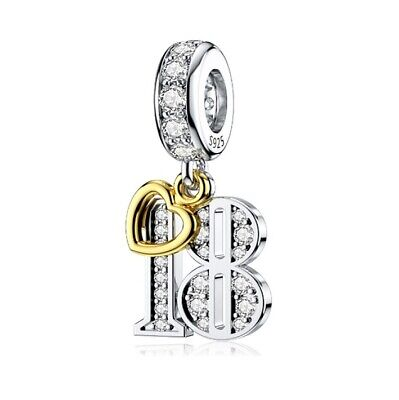 AU25.99 • Buy S925 Silver & Gold Pl Hanging 18th Milestone Birthday Charm By YOUnique Designs