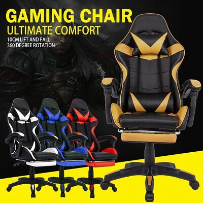 AU124.90 • Buy Gaming Chair Office Chair Executive Computer Chairs Seating Footrest Racer