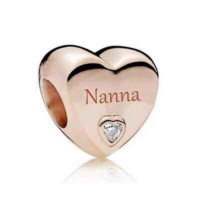 AU26.99 • Buy S925 Silver & Rose Gold Family Love GIFT - NANNA Heart Charm By YOUnique Designs