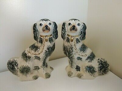£40 • Buy Pair Of Large Staffordshire Flatback Dogs - 12 Inch Tall Ceramic Pottery Vintage