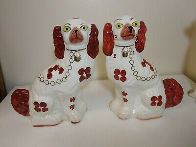 £40 • Buy Pair Of Large Staffordshire Woods Flatback Dogs - 11 Inch Tall Ceramic  Vintage