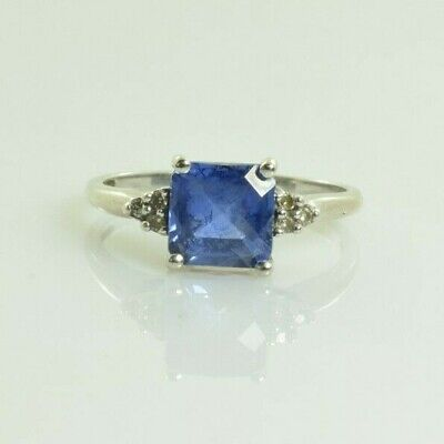 AU297.65 • Buy Sapphire And Diamond Ring In 10k White Gold 1.64 Carats Size 7