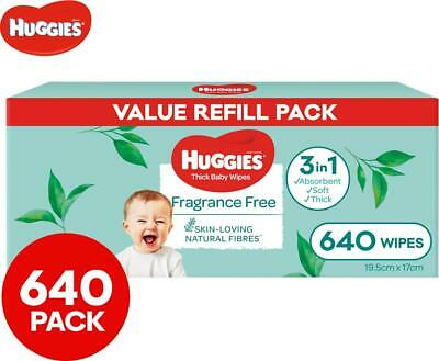 AU39.99 • Buy 8 X 80pk Huggies Thick Baby Wipes Fragrance Free - FREE SHIPPING