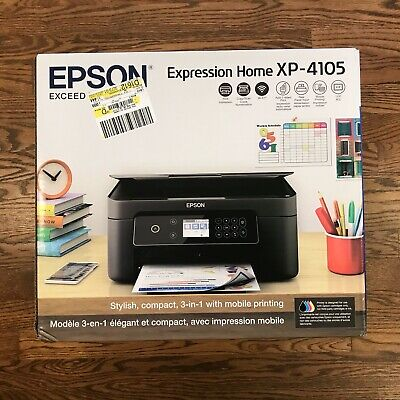 View Details New Epson Expression Home XP-4105  Wireless All-in-One Color Inkjet Printer • 94.88$