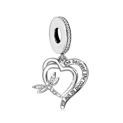 AU28.99 • Buy S925 Silver Dragonfly She Believed She Could Charm Pendant By YOUnique Designs