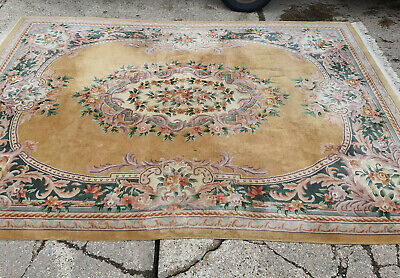 £245 • Buy 20thC,vintage,large,room Size,wool,Chinese,floral,yellow,rug,9' X 12',thick Pile