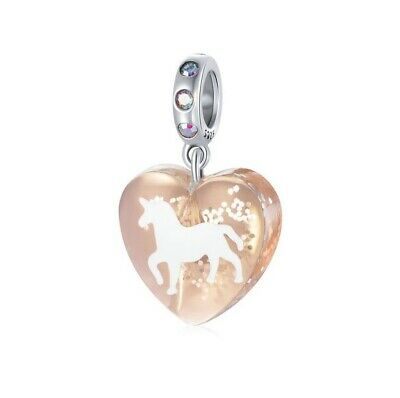 AU21.75 • Buy SOLID S925 Silver Hanging Sparkly Unicorn Resin Heart Charm By YOUnique Designs