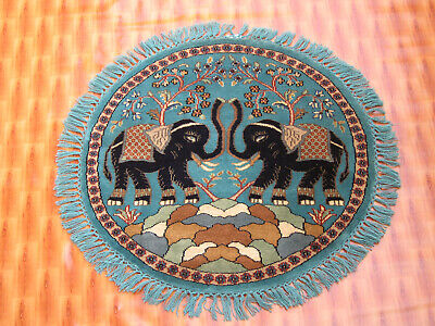 £134 • Buy Blue Color Wool Hand Knotted Oriental Rug Small Round Elephent Design 90x90 Cm