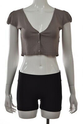 £12.36 • Buy Hazel Womens Sweater Size M Taupe Gray Solid Cap Sleeve Shrug Top Shirt
