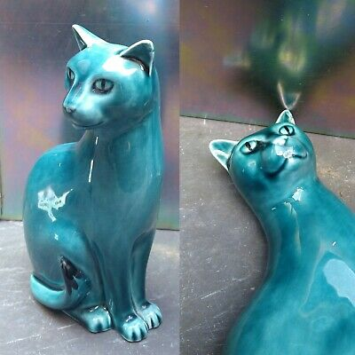 £22 • Buy Vintage Poole Pottery Siamese Ceramic Cat Blue 6.5 Inch Left Side Mid-Century
