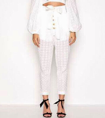 AU59.50 • Buy Alice McCALL Perla Embroided High Waisted Pants In White Size 12