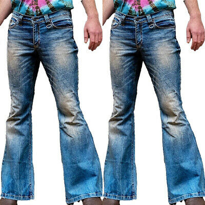 £18.89 • Buy Men Holiday Dance Party Slim Denim Bell Bottoms Flared Pants Bootcut Jeans Retro