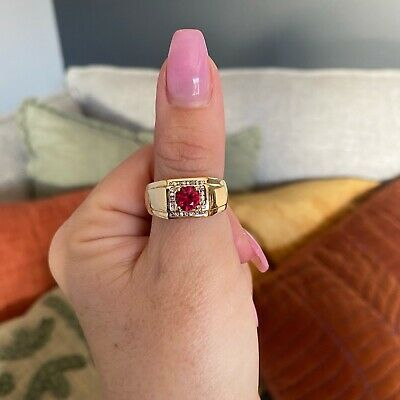 AU699 • Buy 9ct Yellow Gold Natural Ruby & Diamond Mens Ring By Angus & Coote - RRP: $1399