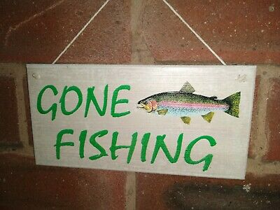£4.75 • Buy Gone Fishing Trout Wooden Sign - Brand New Man Cave Sign