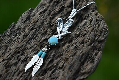 £24.99 • Buy Native American 925 Sterling Silver Turquoise Eagle Feather Necklace
