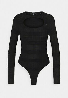 £9.99 • Buy Missguided Textured Cut Out Neck Body Suit Jumper Size 8 BNWT