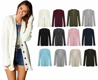 £10.50 • Buy Womens Ladies Chunky Cable Knit Cardigan Button Long Sleeves Grandad Plus Sizes