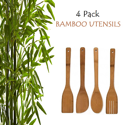 AU8.99 • Buy 4 BAMBOO SPOONS 30cm Wooden Spatula Spoon Kitchen Cooking Utensils Turner Tools