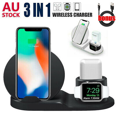 AU21.31 • Buy 3 In 1 Qi Wireless Charger Dock Charging Stand Station For IPhone 12 Pro Samsung