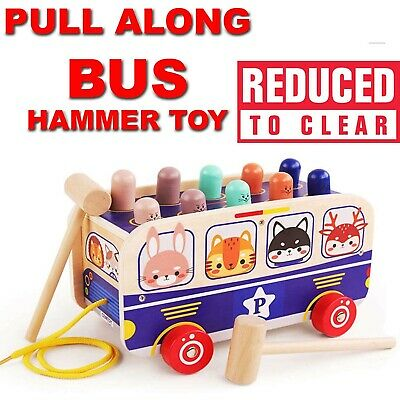 £8.89 • Buy Wooden BUS Hammer Toys For 1 2 3 Year Old,3 In 1 Pull Along Animal Bus Pound