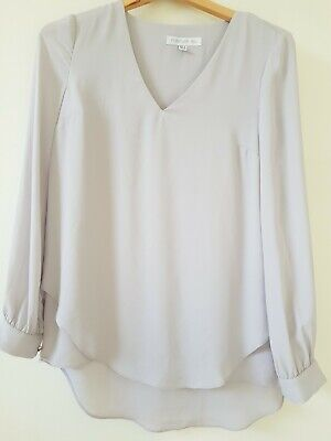 AU17 • Buy Forever New Silver Grey Polyester Crepe 'Layered' Top Blouse Brass Detail Size 6