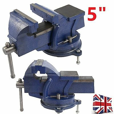 £24.99 • Buy 5  125mm Work Shop Bench Vice Vise Clamp Engineer Jaw Swivel Base Cast Iron Tool