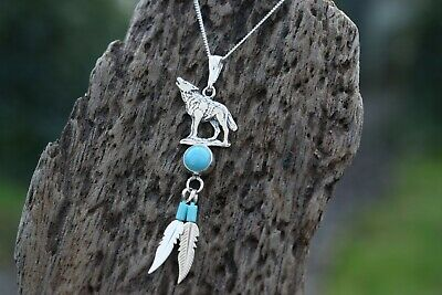 £24.99 • Buy Native American 925 Sterling Silver Turquoise Gemstone Wolf 16   Necklace