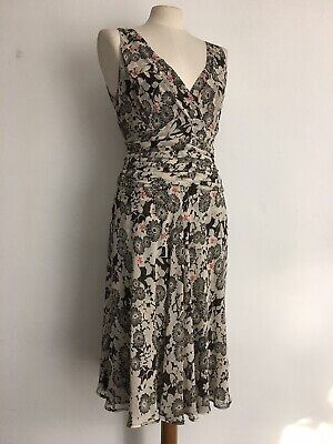£14 • Buy NOUGAT Ivory And Chocolate Dress With Embroidered Flowers 100% Silk Size 2 UK 10