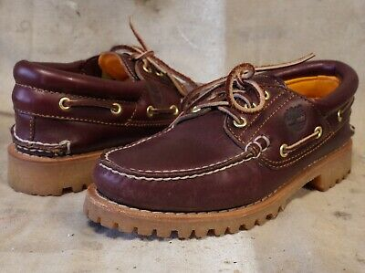 £47.28 • Buy Mens TIMBERLAND Leather Moc Toe Deck Boat LUGGED Sole SHOES 7 M ** NICE!!