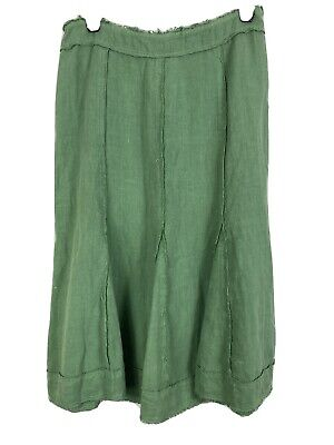 £17.90 • Buy Marks And Spencer Per Una Long Skirt Sz 16R GREEN %100 LINEN GOOD Con