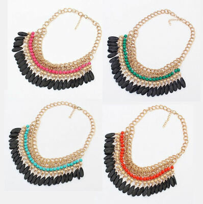 £6.99 • Buy Necklace With Gold Coloured Chain And Beaded Detail Fashion Statement Jewellery