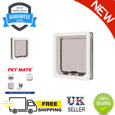 £18.81 • Buy 4-way Locking Cat Flap  For Large Cats And Small Dogs - White