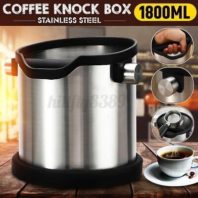 AU35.27 • Buy Coffee Knock Box Stainless Steel Grind Coffee Espresso Waste Bin Container Large