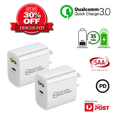 AU19.99 • Buy Quick Charger Type C & A Dual USB Wall Charger Plug QC3.0 PD For IPhone Samsung