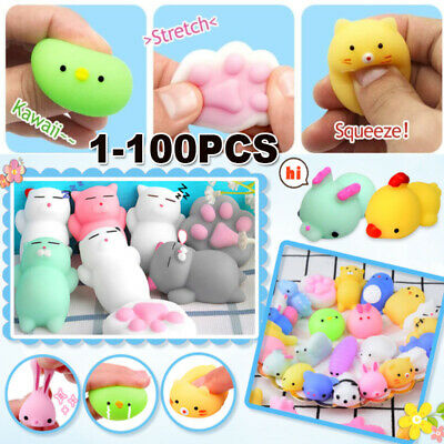 AU20.97 • Buy 1-100Pack Animal Squishies Mochi Squeeze Fidget Toy Stretch Stress Relief Gifts