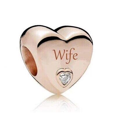 AU26.99 • Buy S925 Silver & Rose Gold Family Love - WIFE Heart Charm By YOUnique Designs