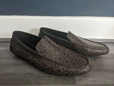 £45 • Buy Calvin Klein Miguel Driving Loafers Logo Brown Loafers Shoes Vegan  - Uk 12 46.5