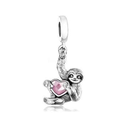 AU27.99 • Buy SOLID Sterling Silver Sweet Slow Sloth Heart Hanging Charm By YOUnique Designs