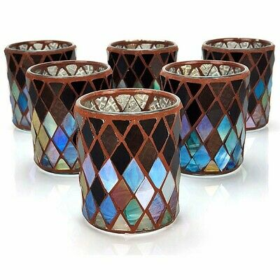 £6.49 • Buy 6 X Official Yankee Autumn Mosaic Glass Votive Candle Holders - Home Accessories