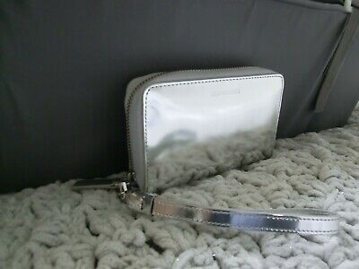 £16.95 • Buy Lulu Guinness Tech Wallet In Silver Shiny Smooth Polished Leather Mirror Finish
