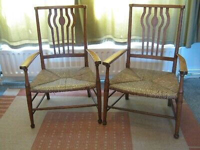 £135 • Buy Delightful Pair Of Cotswold School Rush Seated Low Chairs