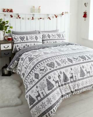 £19.99 • Buy Christmas Tree Duvet Set Bedding Xmas Bauble Decoration Stag Grey Or Red