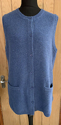 £14.99 • Buy Cotswold Collections Pure Lambswool Blue Sleeveless Cardigan Size 3XL