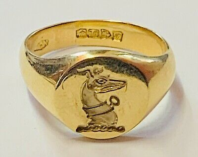 """£795 • Buy """"Superb 18ct Yellow Gold Talbot Intaglio Seal Ring"""" Heavy 13.2g"""