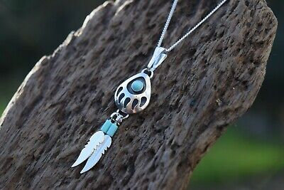 £18.99 • Buy Native American 925 Sterling Silver Turquoise Gemstone Bear Paw 16   Necklace