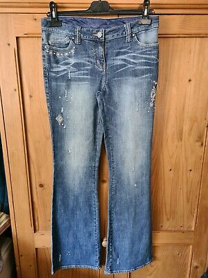 £8 • Buy Next Light Blue Sequin Bead Embroidered Bootcut Jeans Size 8