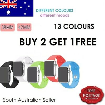 AU4.99 • Buy For Apple Watch - 38mm & 42mm, Silicone Band - SA & AU Seller - Free Postage